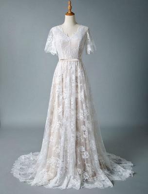 Einfaches Hochzeitskleid 2021 V-Ausschnitt A-Linie Kurzarm Tiefes V Backless Lace Brautkleider_4