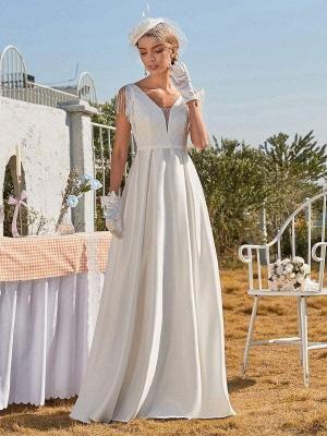 White Intage Wedding Dress V-Neck Sleeveless Natural Waist Satin Fabric Floor-Length Fringe Traditional Dresses For Bride_2