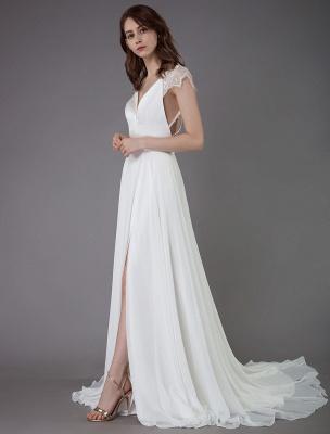 Strand-Hochzeitskleider-Spitze-Satin-A-Linie-Elfenbein-Luxus-Rücken-Kreuz-High-Split-Sommer-Brautkleider-Mit-Zug_5