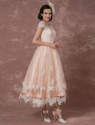 Wedding Dress Short Vintage Bridal Dress Backless Illusion Lace Applique Tea-Length A-Line Reception Bridal Gown Exclusive_6
