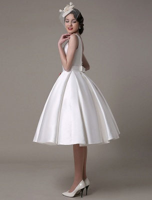 Ivory Wedding Dress Scoop Backless Knee Length Satin Wedding Gown Exclusive_8