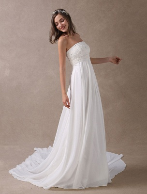 Beach Wedding Dresses Ivory Chiffon Strapless Lace Beaded Summer Bridal Gowns With Train Exclusive_4