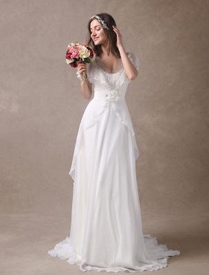 Glamorous Court Schleppe Elfenbein Brautkleid mit Perlenstickerei V-Ausschnitt Exklusiv_6