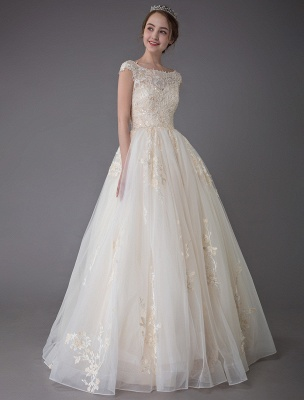 Wedding Dresses Princess Ball Gowns Champagne Lace Applique Beaded Colored Maxi Bridal Dress_2