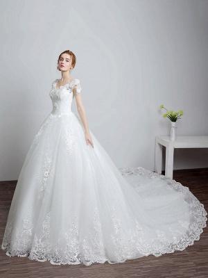 Prinzessin Brautkleider Elfenbein Backless Brautkleid Spitze Applique V-Ausschnitt Langer Zug Brautkleid_2