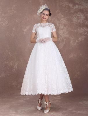 Lace Wedding Dresses Short Sleeve 1950'S Vintage Bridal Dress Sweetheart Illusion Ivory A Line Tea Length Wedding Reception Dress Exclusive_2