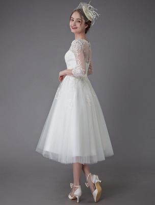 Vintage Wedding Dresses Tulle Bateau 3/4 Length Sleeve A Line Bridal Gown Short Bridal Dress Exclusive_9