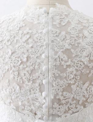 Weißes Hochzeitskleid Queen Anne Brautkleid mit Schärpe und Spitze_9