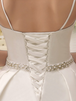 Vintage Spaghetti Straps Backless Satin Short Wedding Dress With Pearls At Waist Exclusive_7