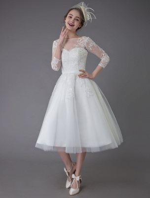 Vintage Wedding Dresses Tulle Bateau 3/4 Length Sleeve A Line Bridal Gown Short Bridal Dress Exclusive_3