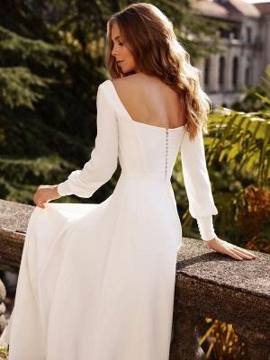 Weißes einfaches Hochzeitskleid Satin Stoff Square Neck Long Sleeves A-Linie bodenlangen Brautkleider_6