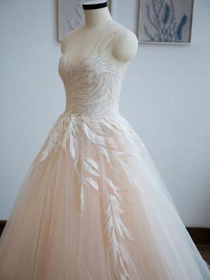 Brautkleid 2021 Prinzessin Silhouette Bodenlangen Jewel Neck Ärmellos Natürliche Taille Spitze Tüll Brautkleider_6