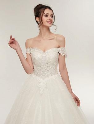 Princess Wedding Dresses Off The Shoulder Ivory Bridal Dresses Lace Applique Tulle Floor Length Ball Gowns_7