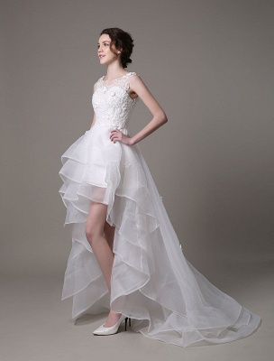 Asymmetrical Organza Wedding Dress High Low A-Line With Lace Beading Flower Exclusive_3