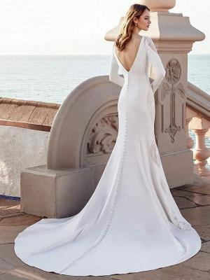 Brautkleid Meerjungfrau Kleid Bateau-Ausschnitt mit langen Ärmeln natürliche Taille mit Zug Brautkleider_2