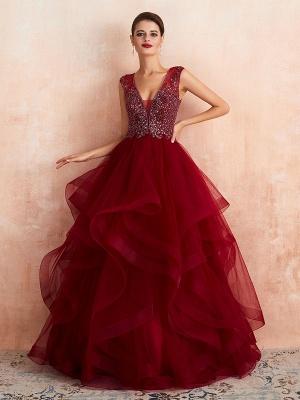 Ball Gown Wedding Dress Princess Floor Length V Neck Sleeveless Sequins Tulle Bridal Dresses_5