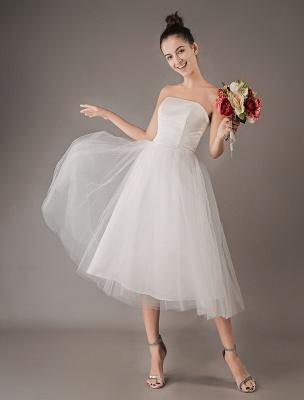 Vestidos de novia vintage Vestido de novia corto de tul sin tirantes hasta el té Exclusivo_2