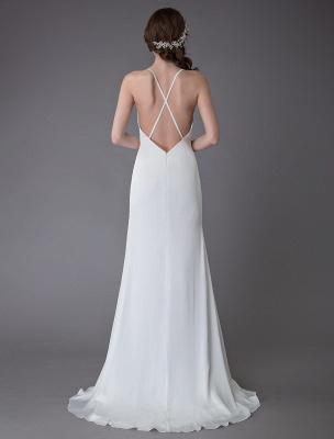 Beach Wedding Dresses Sexy Bridal Dress High Split Ivory Sheath Straps Summer Wedding Gowns Exclusive_7