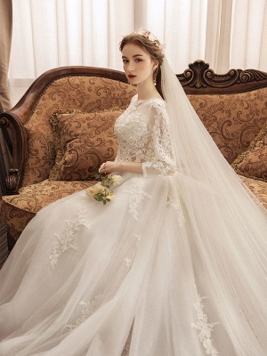 Ivory Wedding Dresses Lace Applique Jewel Neck 3/4 Length Sleeve Princess Bridal Gown With Train_5