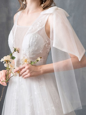 Summer Wedding Dresses 2021 Boho Beach A Line Bridal Dress Lace Applique Tulle Bridal Gown With Train_8