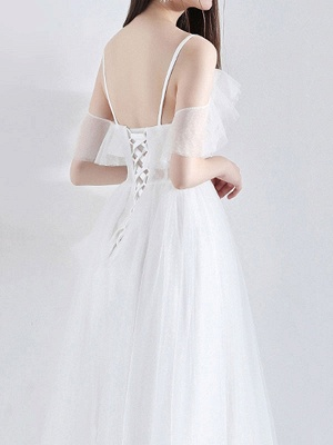 Short Wedding Dress 2021 A Line V Neck Short Sleeves Tea Length Bridal Dresses_7