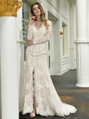 Boho Wedding Dress V Neck Sleeveless Natural Waist Lace Bridal Gowns With Train_3