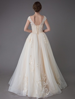 Wedding Dresses Princess Ball Gowns Champagne Lace Applique Beaded Colored Maxi Bridal Dress_6