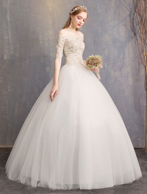 Tulle Wedding Dress Off The Shoulder Half Sleeve Princess Bridal Gown_4