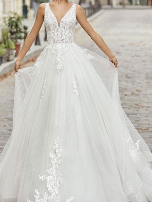 Ivory Simple Wedding Dress A Line V Neck Sleeveless Applique With Long Train Bridal Dresses_1