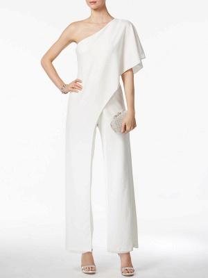 Einfache Hochzeits-Overalls Elfenbein One Shoulder Culottes Brautkleid_4