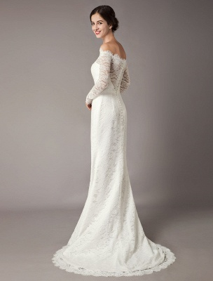 Lace Wedding Dresses Off The Shoulder Long Sleeve Beaded Sash Bridal Gowns With Train_6