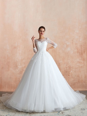 Wedding Gown 2021 3/4 Sleeve Jewel Neck Lace Appliqued Beaded Ball Gown Bridal Wedding Dress With Train_5