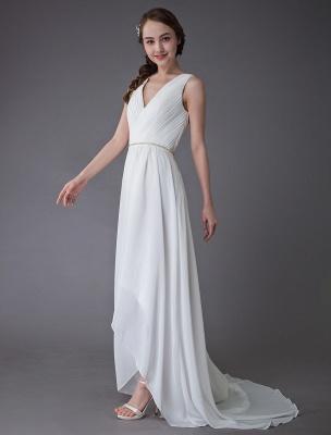 Beach Wedding Dresses Chiffon V Neck High Low Sash Summer Bridal Dress Exclusive_6