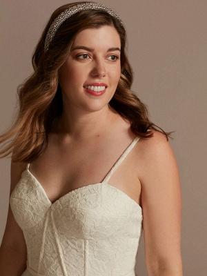 Kurzes Hochzeitskleid Weiß Ärmellos Tee-Länge Herzausschnitt Ärmellos A-Linie Natürliche Taille Tüll Brautkleider_3