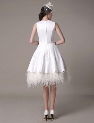A-Line Wedding Dress Knee-Length Feather Tiered Satin Bow Bridal Dress Exclusive_6