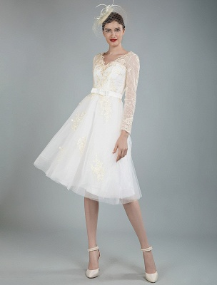 Short Wedding Dress Tulle Knee Length V Neck Long Sleeves A Line Natural Waist Bridal Gowns Exclusive_9