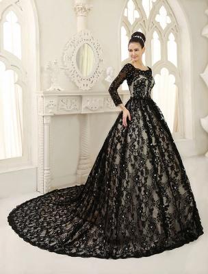 Black Wedding Dress A-Line Scoop Neck Sequin Chapel Train Lace Wedding Gown Exclusive_3