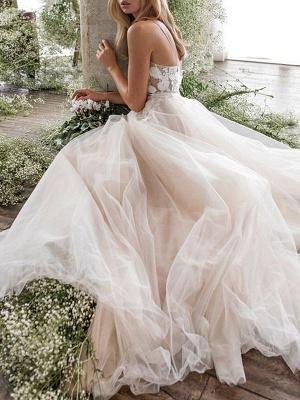 Wedding Dress Jewel Neck A Line Sleeveless Flowers Floorlength Backless Bridal Gowns_3