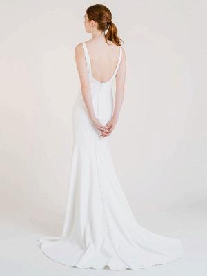 Vestido de novia blanco simple con tren Bateau Cuello sin mangas Sin espalda Tela de satén Sirena Vestidos de novia_2