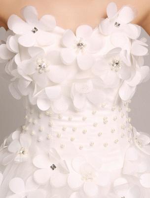 Elfenbein Brautkleider Prinzessin Ballkleider Brautkleid 3D Blumen Trägerlos Perlen Frauen Festzug Kleider_4