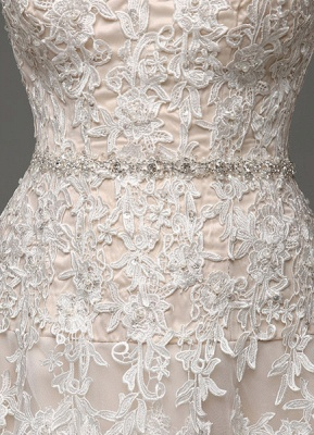 Wedding Dresses Champagne Tulle Strapless Sweatheart Lace Sash Bridal Gown_9