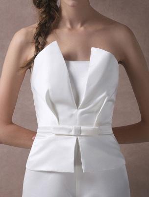 Wedding Jumpsuits Ivory Strapless Peplum Satin Bow Sash Long Bridal Jumpsuits Exclusive_10