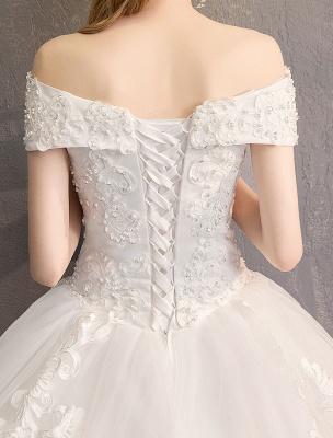 Ballkleid Prinzessin Brautkleider Elfenbein Spitze Perlenketten Schulterfrei Brautkleid_9
