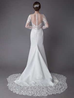 Beach Wedding Dresses Ivory Lace V Neck Long Sleeve Mermaid Bridal Gown With Train Exclusive_8
