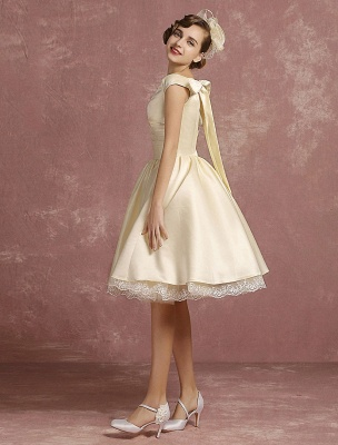 Short Wedding Dresses Satin Vintage Princess Bridal Dress Knee Length Sleeveless Lace Edge Pleated Bridal Gown With Ribbon Bow Exclusive_5