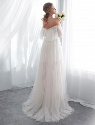 Ivory Wedding Dresses Off Shoulder Half Sleeve Tulle Beach Bridal Dress With Train_6