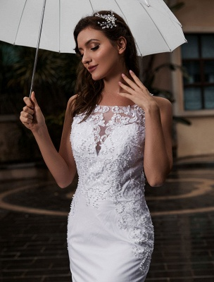 Customize Wedding Dress With Train Sleeveless Beaded Square Neck Bridal Gowns_5