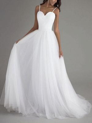 Simple Wedding Dress Tulle Sweetheart Neck Sleeveless Sash A Line Bridal Dresses_1