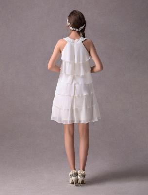 Einfache Brautkleider Elfenbein Chiffon Cocktailpartykleid Perlen Tiered A Line Halfter Kurzes Brautkleid Exklusiv_7