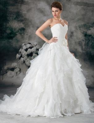 Glamouröses Elfenbein Gerafftes Herzausschnitt A-Linie Brautkleid aus Organza_2